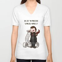 crowley V-neck T-shirts featuring Is It Worth Your Soul? Crowley SPN  by ParallelPenguins
