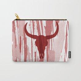 Boho Bohemian Trendy Bull Skull Southwest Desert tattoo Style Design on Abstract Red Illustration Carry-All Pouch