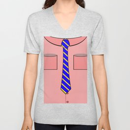 Pink shirt and tie Unisex V-Neck
