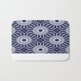 Blue, white and orange pattern acrylic painting Bath Mat