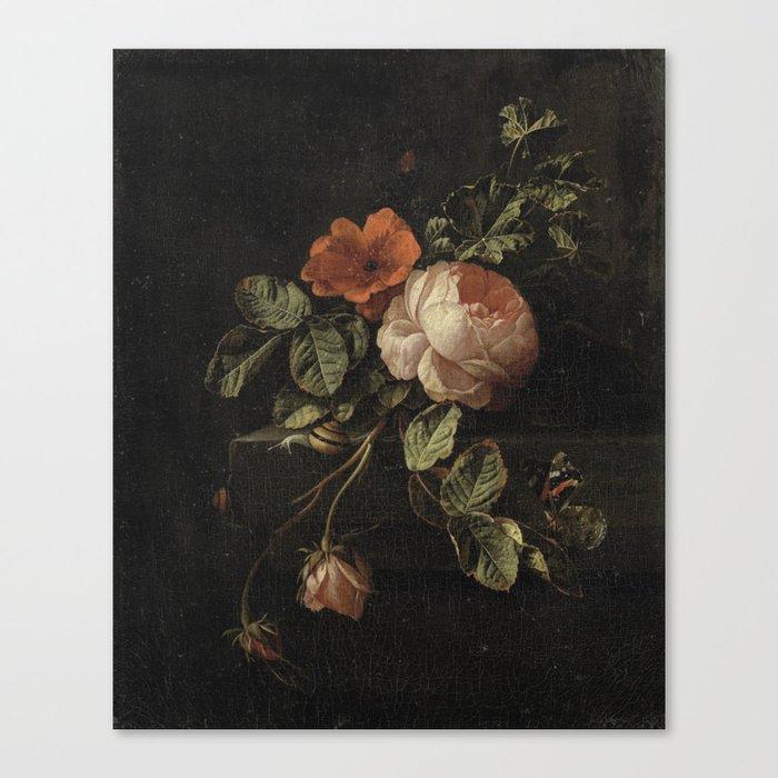 Botanical Rose And Snail Leinwanddruck