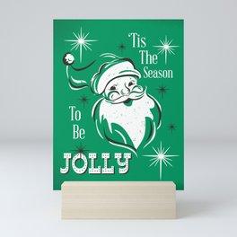'Tis The Season - Retro Santa Green Mini Art Print