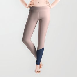 Soft Pink Plus Dark Blue - oblique Leggings