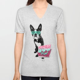 Vintage Retro 80's Bulldog Animal Glasses Stay Rad T-shirt Unisex V-Neck