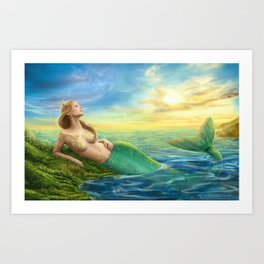 Beautiful princess- fantasy mermaid at sunset background Art Print