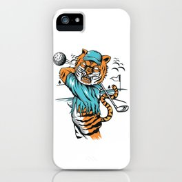 Tiger golfer WITH cap iPhone Case