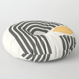 Geometric Lines in Gold and Black 4 (Rainbow and Sunrise Abstract) Floor Pillow