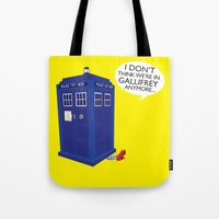 tardis Tote Bags featuring Tardis by Elizabeth A