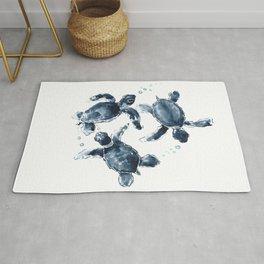 Turtle Swimming Sea Turtles indigo blue turtle art Rug