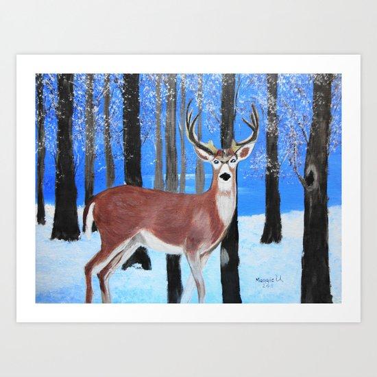 Buck by the trees Art Print
