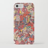 comic book iPhone & iPod Cases featuring Spiderman comic book collage by vanityfacade