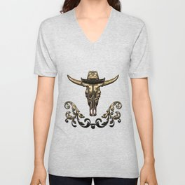 Awesome elegante cow skull with hat Unisex V-Neck