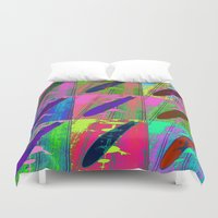 led zeppelin Duvet Covers featuring Zeppelin Warhol by Sara PixelPixie