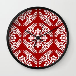 Japanese Medallion Pattern, Deep Red and White Wall Clock