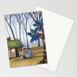 Little House in Blue Forest Stationery Cards