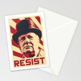 Winston Churchill Resist Retro Propaganda Stationery Cards
