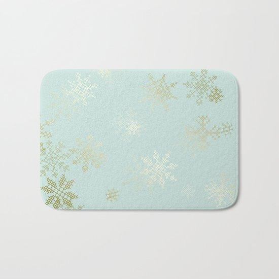 Gold Snowflakes Bath Mat
