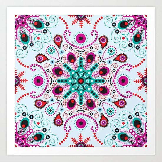 pointillism mandala light blue red and purple art print. Black Bedroom Furniture Sets. Home Design Ideas