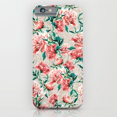 Peonies with lace effect iPhone 6s Slim Case