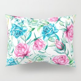 Blue and pink roses Pillow Sham