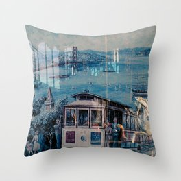 Window Reflection 001 (Horse/Trolley) Throw Pillow