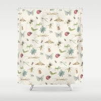 insects Shower Curtains featuring Insects by Little Holly Berry