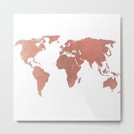 Faux Rose Gold World Map Metal Print