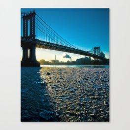 Ice Floe under the Manhattan Bridge Canvas Print