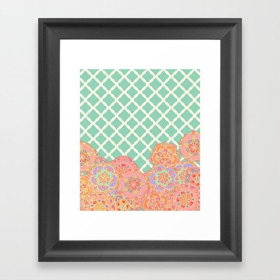 Floral Doodle on Mint Moroccan Lattice Framed Art Print