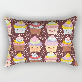 Cupcake Kawaii funny muzzle with pink cheeks and winking eyes Rectangular Pillow