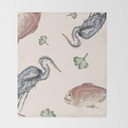 Heron and Fish Throw Blanket