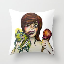 Princess Frog Throw Pillow