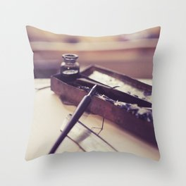 pen and ink Throw Pillow