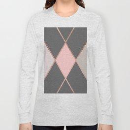 Modern pastel pink gray color block rose gold stripes Long Sleeve T-shirt