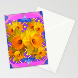 Blue-Pink Golden Daffodils Purple Art Garden Stationery Cards