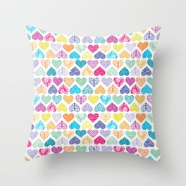 Rainbow Wild Hearts Throw Pillow