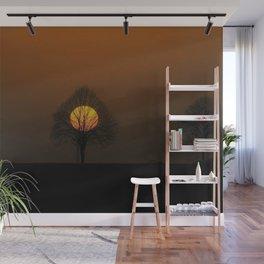 Yellow Moon Twilight Landscape Photograph Wall Mural