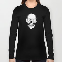Skull and Roses | Black and White Long Sleeve T-shirt