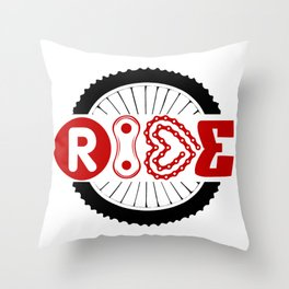 RIDE #biking#MTB Throw Pillow