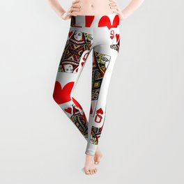 RED QUEEN OF HEARTS  & ACES PLAYING CARDS ARTWORK Leggings
