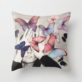Rainbow Butterfly Art Throw Pillow
