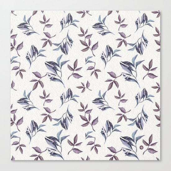 Watercolor cold leaves pattern Canvas Print