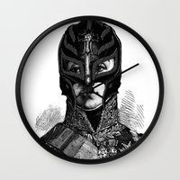 wrestling Wall Clocks featuring WRESTLING MASK 6 by DIVIDUS