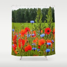 Poppies And Cornflowers Shower Curtain