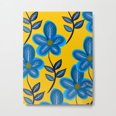 Blue Flowers and Yellow Pattern Metal Print