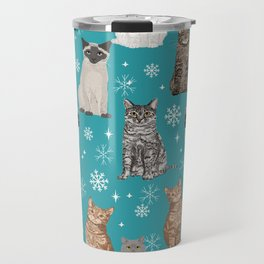 Cat breeds snowflakes winter cuddles with kittens cat lover essential cat gifts Travel Mug