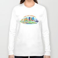 cities Long Sleeve T-shirts featuring Twin Cities by Jane Gardner