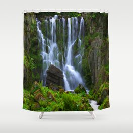 Waterfall in the mountain park Shower Curtain
