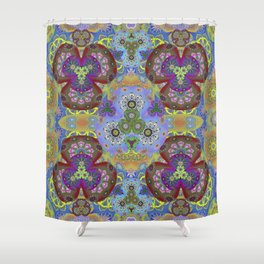 Passion Petals Retro Groovy Kaleidescope Psychedelica Print Shower Curtain