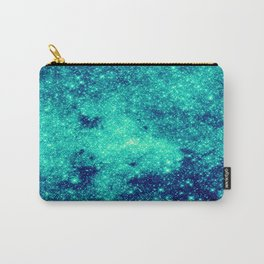 Teal Turquoise GalaXy. Sparkle Stars Carry-All Pouch